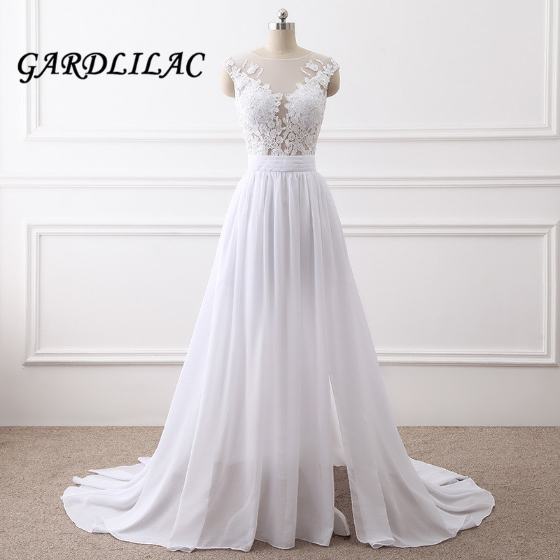 2019 White Beach Wedding dresses Top See Though Lace Appliques Women Plus Size for Wedding Wedding  Party Dress Bridal Gown G053