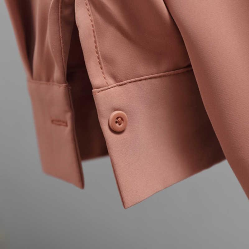 캐주얼 솔리드 여성 셔츠 아웃웨어 탑스 2020 가을 새로운 여성 쉬폰 블라우스 사무실 레이디 v-목 단추 느슨한 의류 5104 50