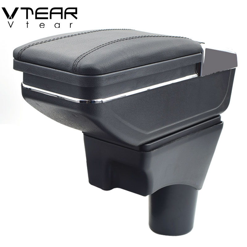 Vtear For Nissan Sunny Versa armrest box PU Leather central Store content box cup holder car