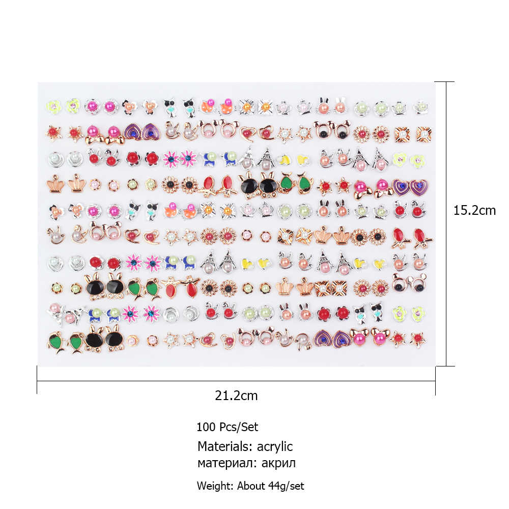 100pairs/set Mixed Style Rhinestone Crystal Stud Earrings Sets Geometric Heart Crown Flower Pearl Earring For Women Jewelry Gift