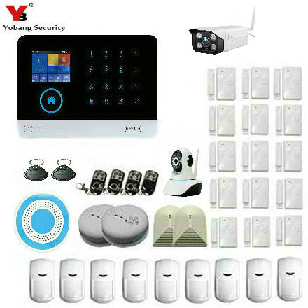 YobangSecurity Wifi Wireless GSM Security Alarm System Outdoor IP Camera Wireless Siren Smoke Detector Door Sensor iOS Android wireless alarm accessories glass vibration door pir siren smoke gas water sensor for home security wifi gsm sms alarm system