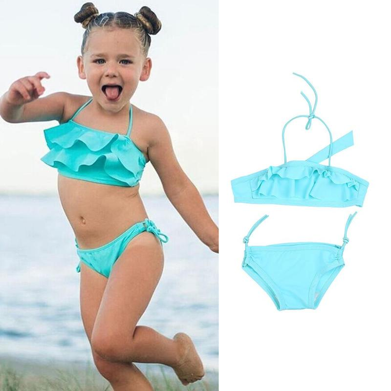 2018 Summer Lovely Baby Girls Bikini Set Swimwear Kids Children Bow Swimsuit Solid Bikinis Swimsuit Swimming Clothes 2PCS Set 2pcs kids baby girls floral swimsuit children girl bikini set summer swimwear bathing suit 1 6y