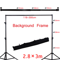 Photo Studio Background Support Stand Photography Adjustable 2.8x3m Backdrop Crossbar Kit for Photo