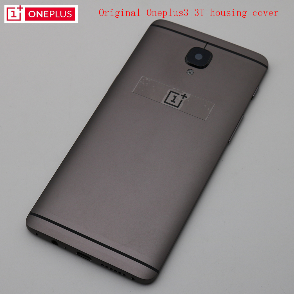 Original 100% ONEPLUS 3 3T Metal Rear Housing Cover,Replacement Back Door Battery Case Side Button/Lens Glass