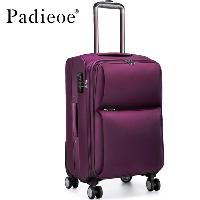 "Padieoe 2017 Newly Rolling Luggage For Men & Women Fashion 20"" 24"" Solid Purple Unisex Travel Rolling Trolley Bags Suitcase"