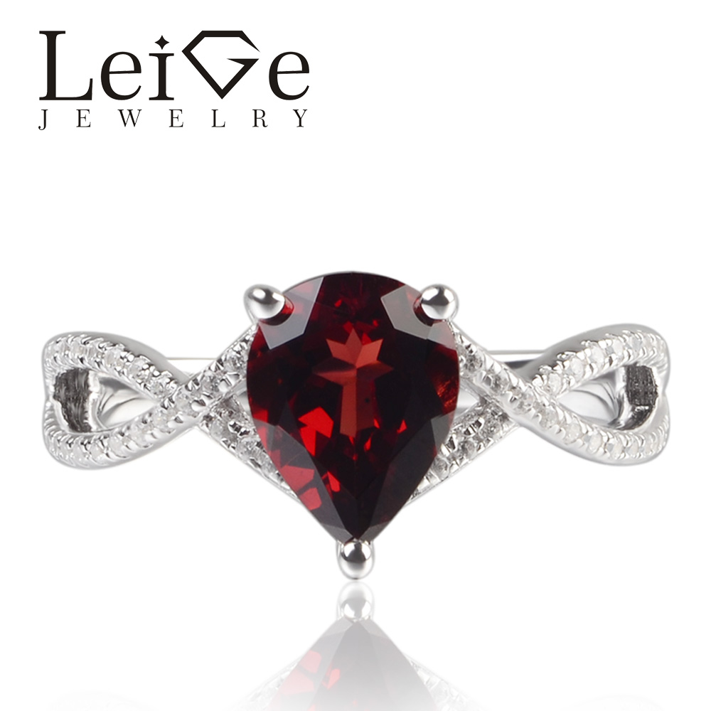 LeiGe Jewelry Natural Garnet Red Color Gemstone Prong Setting Pear Cut Classic Rings For Woman January Birthstone 925 SilverLeiGe Jewelry Natural Garnet Red Color Gemstone Prong Setting Pear Cut Classic Rings For Woman January Birthstone 925 Silver