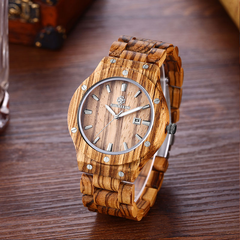 2018 Hot SaleNatural Zebra Wood Men Watches Black Sandalwood Band Vintage Luxury Brand Quartz Big Watch Male Clock As Gift Box men wooden watch for male quartz wristwatches sandalwood strap calendar clock luxury brand wood watch with gift box friend 100bg