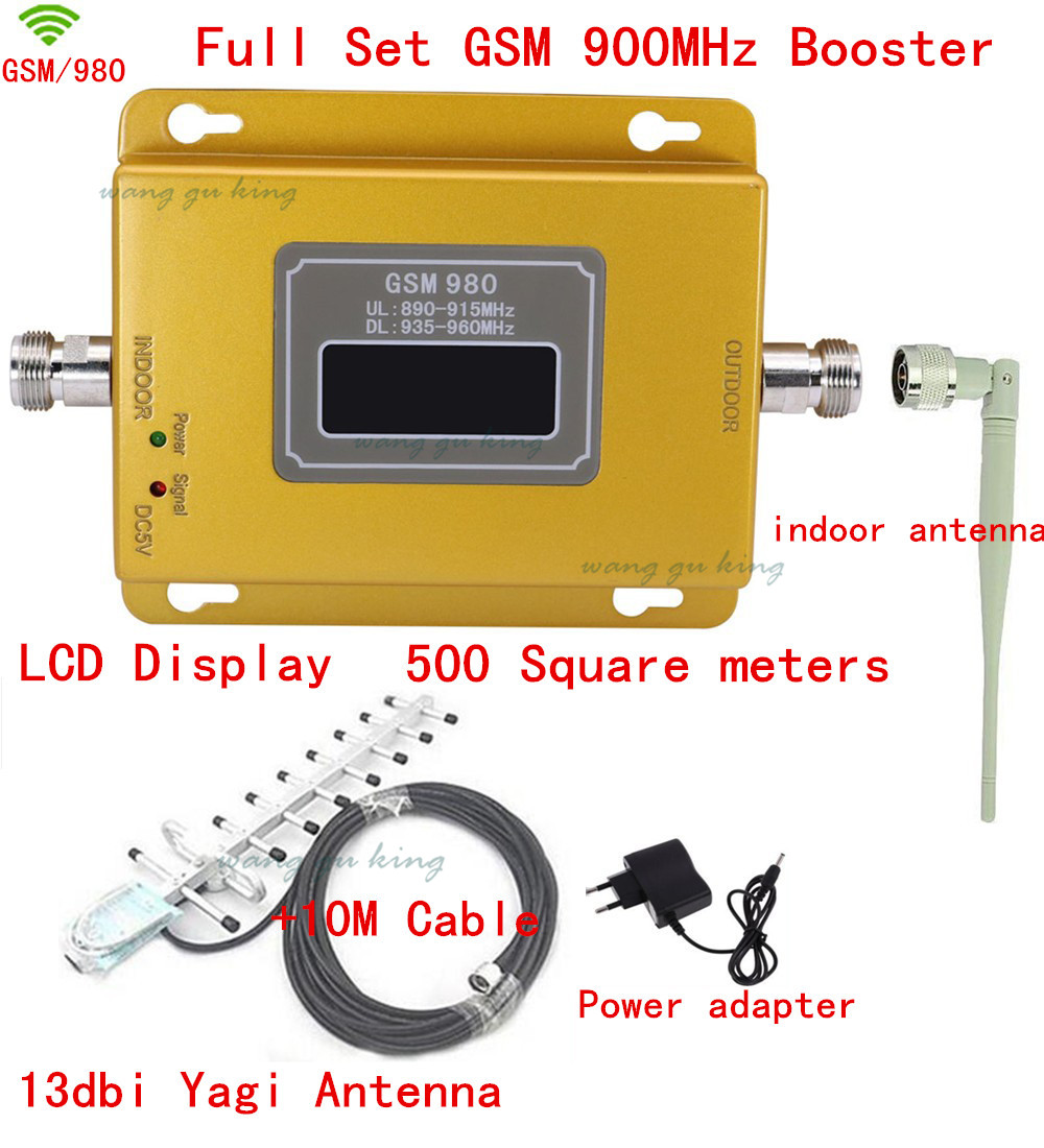 GSM980 GSM 900 MHz Mobile Cell Phone Booster Repeater Amplifier Full Kit With 13db Yagi Antenna And Indoor Antenna+10m Cabl