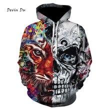 eddc50c92f25 Rocksir New Fashion 3d Hoodies Men women 3d Sweatshirts Print Skulls Tiger  Thin Hooded Hoodies Tracksuits