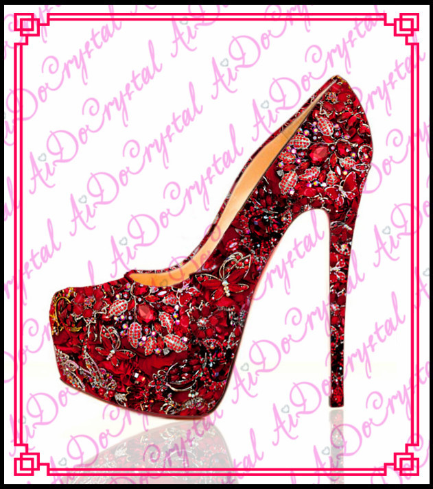 Aidocrystal fashion platform sexy high heels,red wedding women crystal shoes,red bridal flower platform shoes