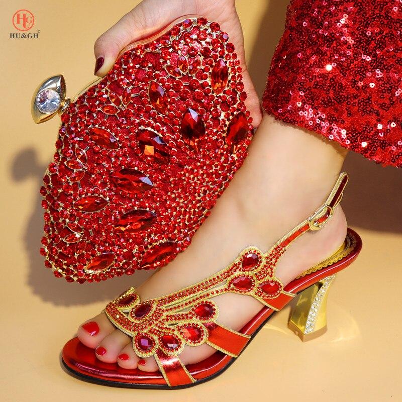 Avec Italiennes Décoré Sacs Dernières Sac Les De Et Strass Couleur Mariage Chaussures Pour Rouge rouge Assortis or Nigérian Femmes pourpre Bleu Ensemble tqfwwF4IW