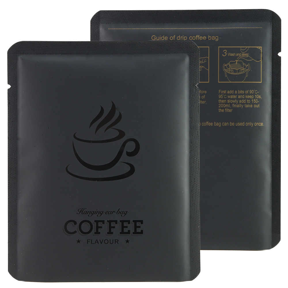 10X12cm Matte Black/ Red Heat Sealable Coffee Package Bag coffee powder pouch coffee bean organization with coffee cup design