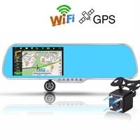 Ecartion 5 Android Touch Car DVR GPS Navigation Rearview Mirror Car Camera Dual Lens Wifi Dash Cam FHD 1080P Video Recorder