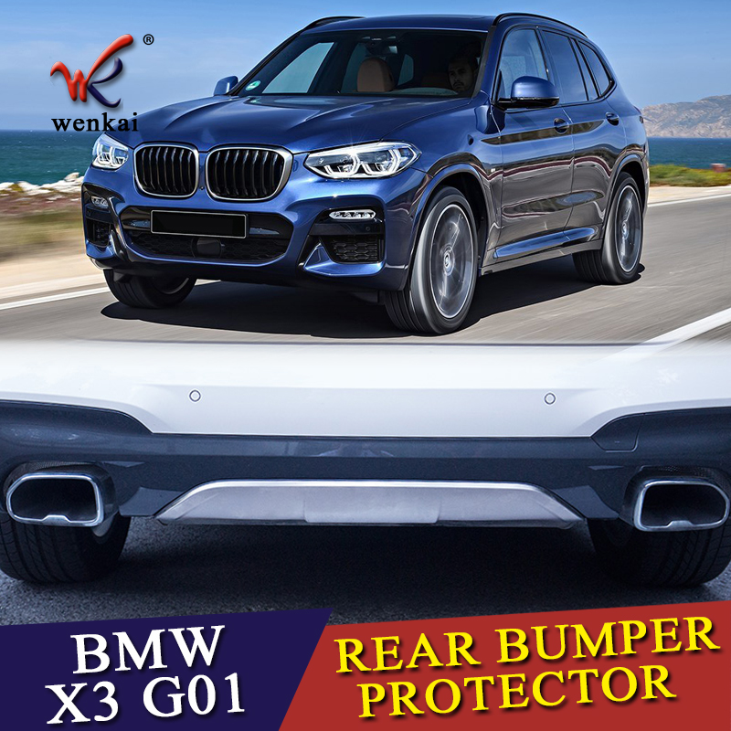 WENKAI High Quality Stainless Steel Rear Skid Bumper Protector Guard Skid Plate For BMW X3 G01 2018 2019 Car Styling rear bumper skid protector guard plate stainless steel for bmw x6 f16 2015