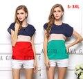 S-XXXL 2 colores envío libre de la blusa de las mujeres blusas blusas de la gasa de color rojo de la raya, camisetas de manga corta camisetas para las mujeres del verano