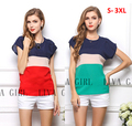 S-XXXL 2 cores blusa blusas das mulheres livres do transporte cor vermelho tarja blusas de chiffon, camisas de manga curta tops para as mulheres verão