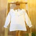 Новый 2016 весна осень детская одежда новорожденных девочек с длинными рукавами футболки девушки принцесса кружева рубашки детская одежда пуловер