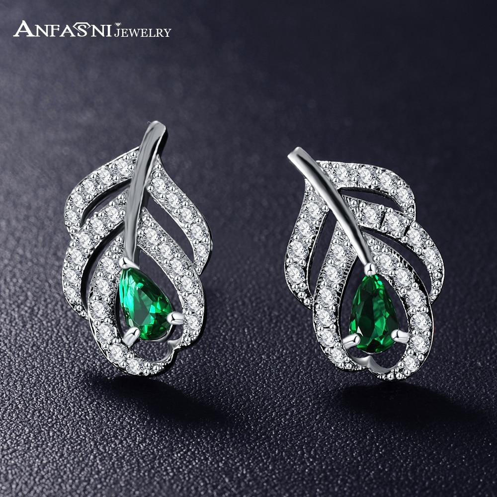 ANFASNI New Elegant Leaf Shaped Cubic Zircon Earrins