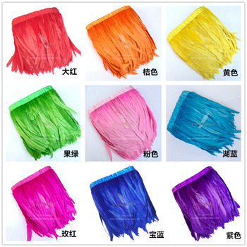 """5 yards Chicken Tail Feather Trims Cock Tail Ribbon 12-14"""" Colorful Feathers For Crafts Decoration Christmas Home Sale New Year"""