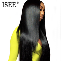 ISEE HAIR Malaysian Straight Lace Front Wig 150% 13x4 Lace Front Human Hair Wigs With Pre Plucked Hairline Bleached Knots Remy