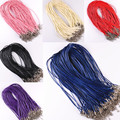 DIY Real Leather Chains Pendant Necklace Rope String Cord 1.5mm Sale 10 Pcs/lot Charms Findings Lobster Clasp Black