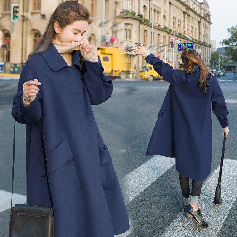 Manteau vert En Et rouge down bleu Long Unique Col Turn brown Beige Automne Manteaux Laine Femmes Poitrine Doux De Hiver Veste Mélangée dxRwfqR