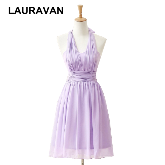 lavender vestido real fashionable cute a line halter neck short lilac women chiffon   dresses     cocktail     dress   for girls gown