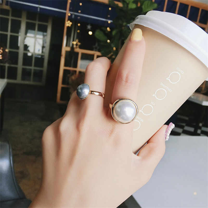 MENGJIQIAO 2019 New Korean 2pcs/set Vintage Fashion Simulated Pearl Zinc Alloy Rings For Women Classic Party Anillos Mujer Gifts