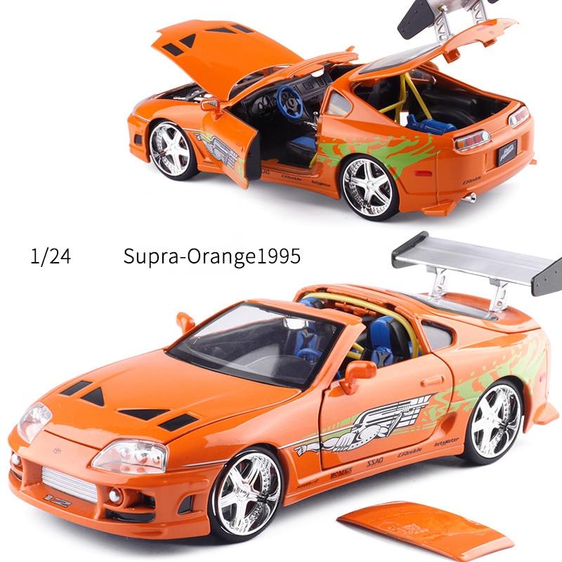 Toyota Sports Car: High Simulation Toyota Supra Orange 1995 Sports Car,1:24
