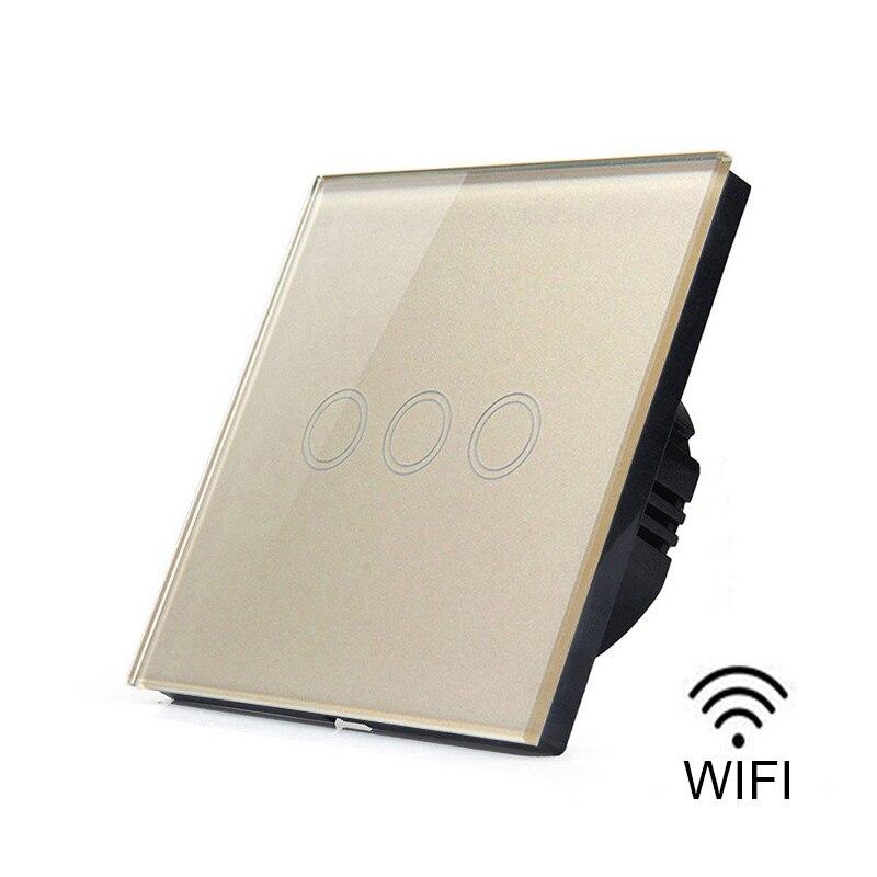 3 Gang 1 Way Wifi Smart Touch Switch App Wireless Remote