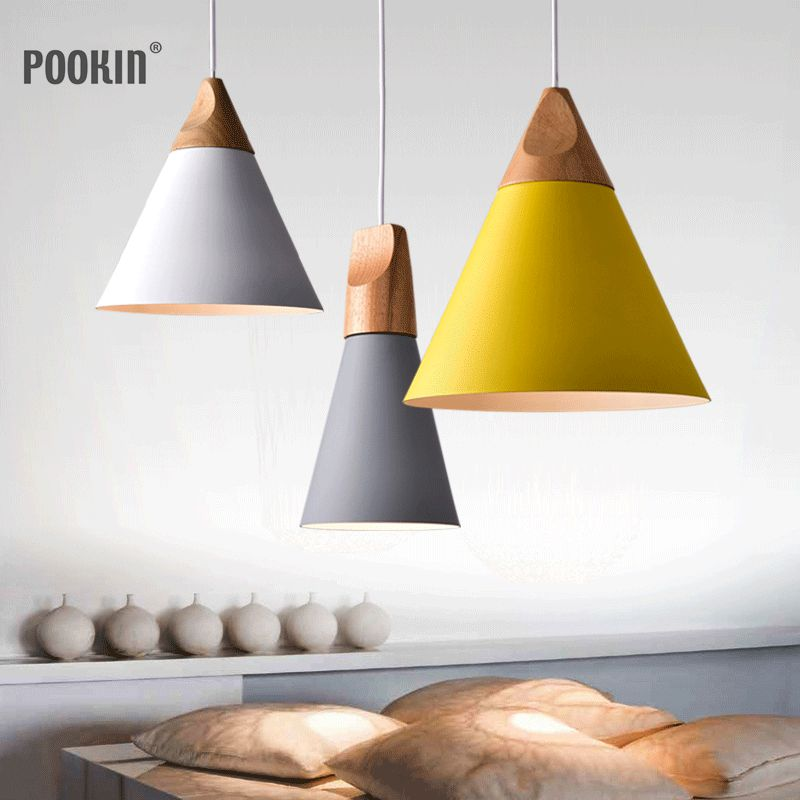 Nordic Modern Wood Pendant Lights Colorful Aluminum lamp shade Luminaire Dining Room Lights Pendant Lamp For Home Lighting