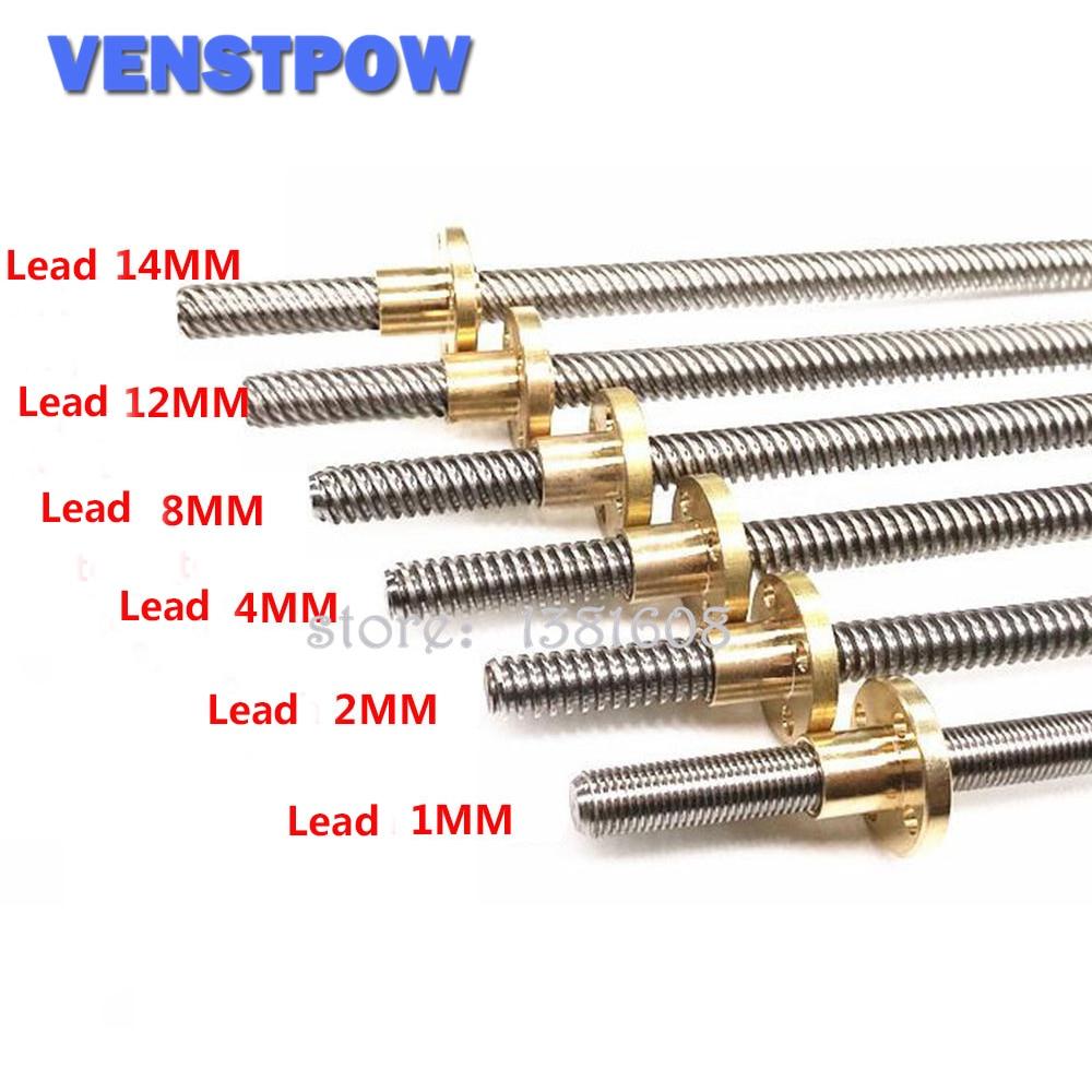 T8 8mm Lead Screw /& Brass Nut Pitch 2mm Lead 8mm Lenth 600mm CNC 3D Printer