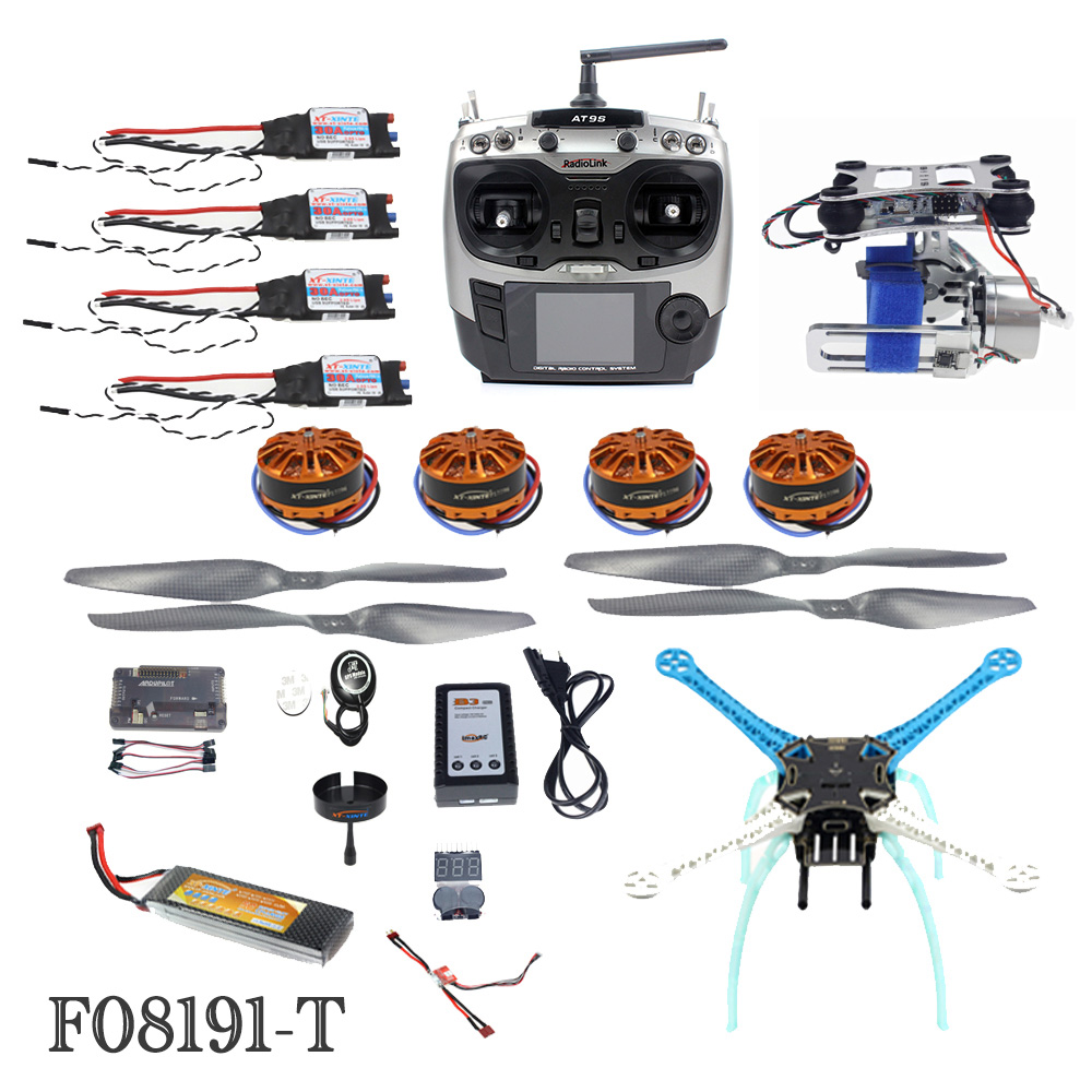 High-powered DIY GPS Drone APM GPS M8N 700KV 30A 4400MAH 30C AT9S TX RX 4-Axis Aircraft Racer with Camera Gimbal PTZ F08191-T high powered diy gps drone apm gps m8n 700kv 30a 4400mah 30c 4 axis aircraft racer with camera gimbal ptz f08191 t