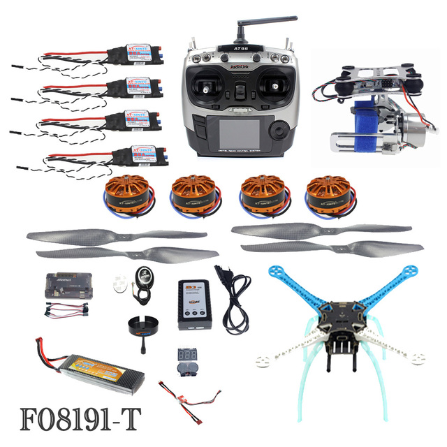 Krachtige DIY GPS Drone APM GPS M8N 700KV 30A 4400 MAH 30C AT9S TX RX 4-Axis Vliegtuigen Racer met Camera Gimbal PTZ F08191-T