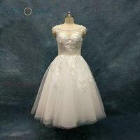2018 Lace Wedding Dresses Tulle Lace Bridal Gowns Vestido De Novia Robe De Mariage Tea Length