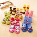 Мода теплые резиновая подошва обуви носки новорожденный мальчик толстые махровые трубке носки зима Младенческой малыша мультфильм не скользит пол носки