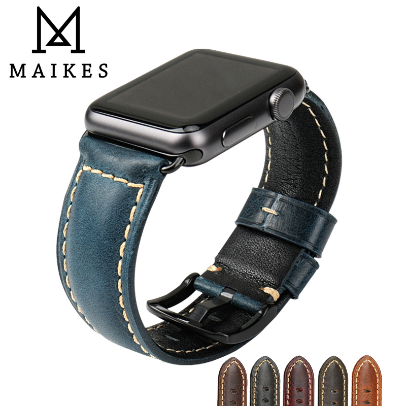 MAIKES Pour Apple Montre Bande 42mm 38mm/44mm 40mm Série 4/3/2 /1 iWatch Bleu Huile Cire En Cuir Bracelet Pour Apple Montre Bracelet
