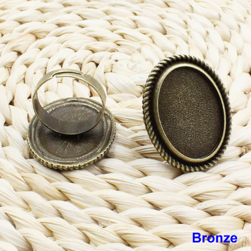 18x25mm Inner Size Ring Metal Zinc Alloy Oval Blank Setting Bezel Blank Cabochon Ring Base For DIY Ring 10pcs/lot K02524