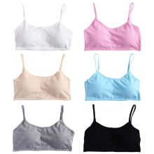 KLV Young Girls Solid Soft Cotton Bra Puberty Teenage Breathable Underwear Kid Cloth