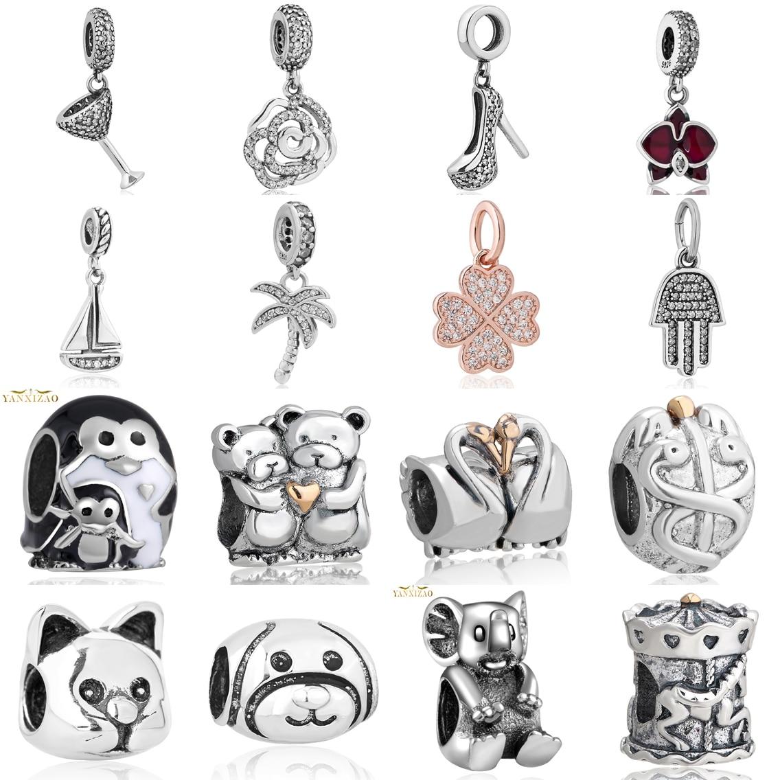 hot stříbro evropské kubické zirkony kouzlo korálky fit pandora styl náramek přívěsek náhrdelník kutilství šperky originály