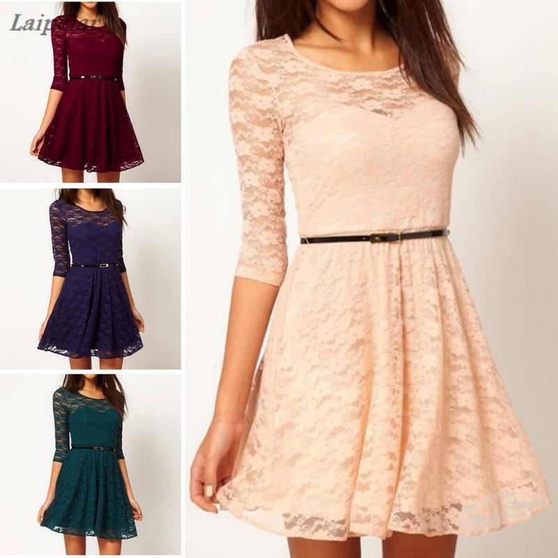 Summer Fashion Elegant Lace Party Dress Hollow Out Women Long Sleeve Casual Dresses Laipelar