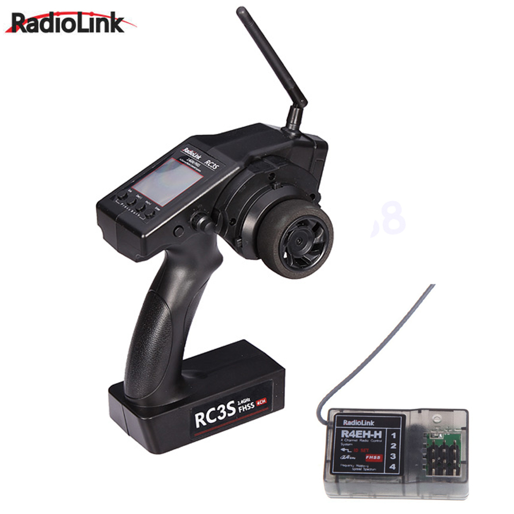 1pc RadioLink RC3S 4CH 2.4G Digital Radio Control System Gun Transmitter R4EH Receiver LCD Programable for RC Car Boat Wholesale original radiolink rc4g 2 4g 4ch gun controller transmitter r4eh g receiver radio control system rc car remote control boat