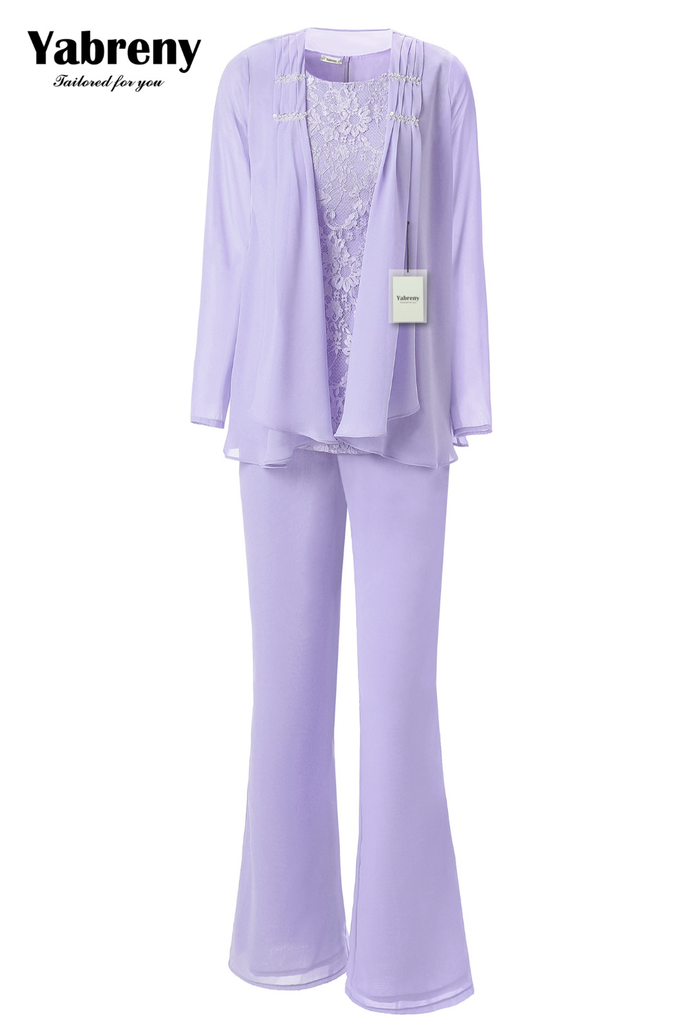 Yabreny Elegant Mother of the Bride Pants suit Lavender Chiffon Outfit for Special occasion MT001704-2