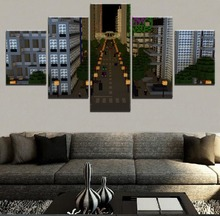 все цены на Wall Art Canvas Print Poster Modular Framework Home Decor 5 Piece Building City Minecraft Moog City Street Painting Game Picture онлайн