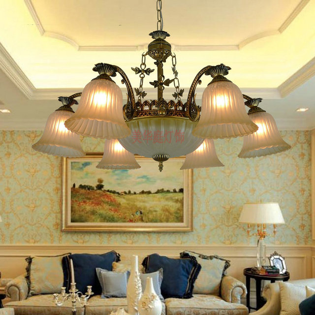 Continental Iron Clearance Minimalist Retro Living Room Chandelier Dining Bedroom Garden Lighting Fixtures 10