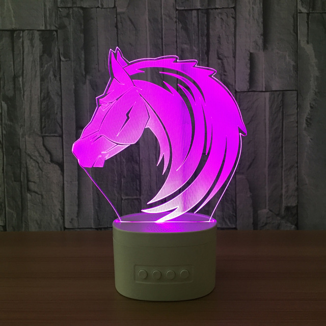3D Night Lights Bluetooth Speaker Music Lamp Horse Bedroom Lamp 5 Color Change Table  party Atmosphere USB 3D lamp