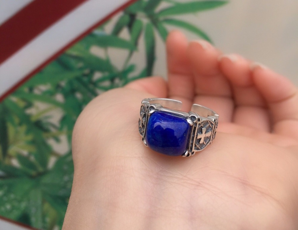 Fine Jewelry Real 925 Steling Silver s925 100% Natural Blue Lapis Lazuli Gemstones Female Fine Rings Christmas GiftFine Jewelry Real 925 Steling Silver s925 100% Natural Blue Lapis Lazuli Gemstones Female Fine Rings Christmas Gift