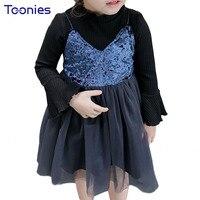 Cute Girls Skirt Suit 2018 New Design Child Clothing Set Flare Sleeve Top Suspender Dress 2pcs