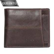 GUBINTU Men Wallet Genuine Leather Short Wallets and Purses With Removable Credit Card Holder Zipper Pocker Purse carteira стоимость