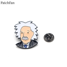 Patchfan Albert Einstein Zinc pins para backpack pride clothes metal medal for bag shirt hat badges brooches men women A1532
